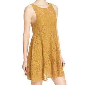 Free People Miles Of Lace mustard a line dress M